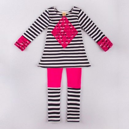 Navy/off White Long Sleeve Striped A-line Tunic W/lace Trim & Color Block Leggings - Mia Belle Baby