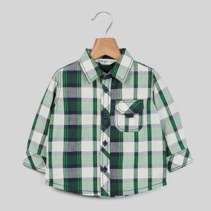 White/green Check Shirt Green Check - Infant - Beebay