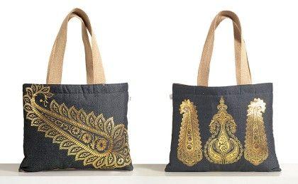Denim Foil Printed Jute Large Bag (set Of 2 Pcs)multi - Swayam