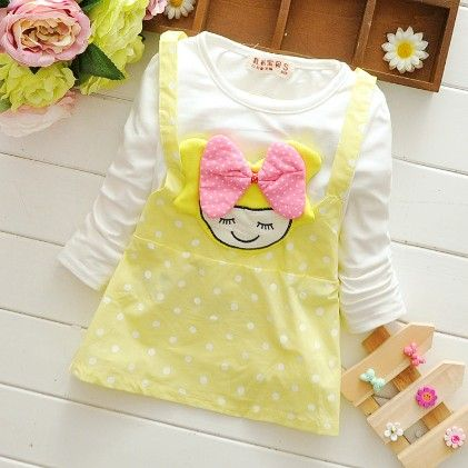 Cute Yellow Polka Dot Dress With Doll Applique - Mellow