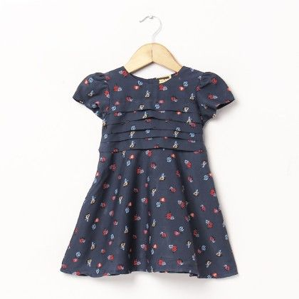 Ladybird Print Dress With Front Pleats - Hugs & Tugs