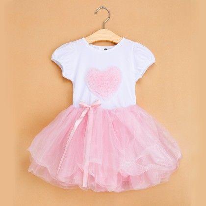 Light Pink Love Print Tutu Dress - The Aria Collection