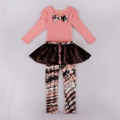 Pink/black Long Sleeve Top And Skirted Leggings - Mia Belle Baby