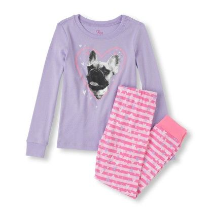 Long Sleeve Dog Heart Top & Striped Pants Pj Set - The Children's Place