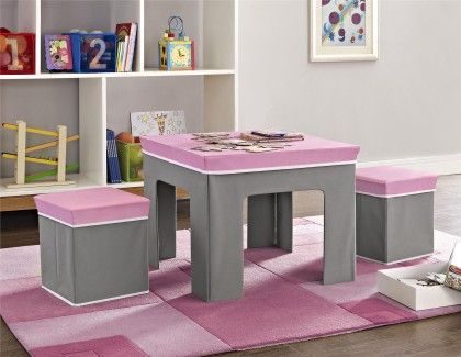 Folding Kids Table & Ottoman Set In Pink And Gray - Altra Furniture