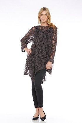 Long Sleeves Crochet Mesh Knit Tuic Top-gray - Kaktus
