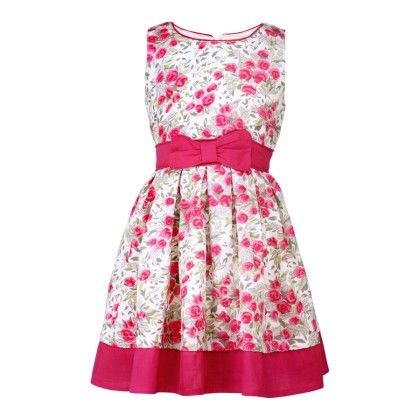 Budding Bees Girls Red Floral Gathered Dress