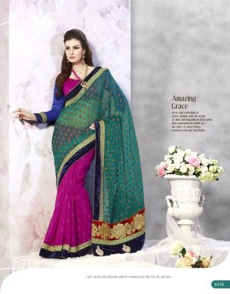 Touch Trends Turquoise Banarasi Net Jaquard Saree - Touch Trends Ethnic