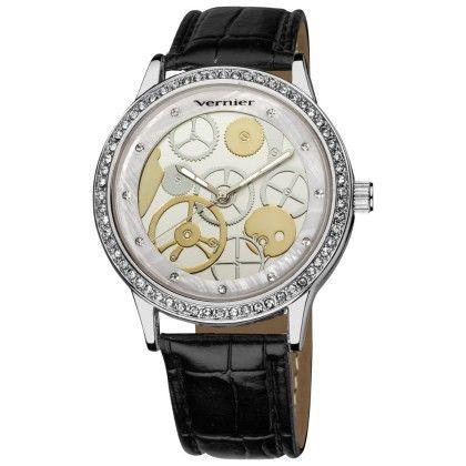Vernier Women's Silver Mechanical Pattern Quartz Black Crocodile Embossed Strap Watch - Vernier Watches