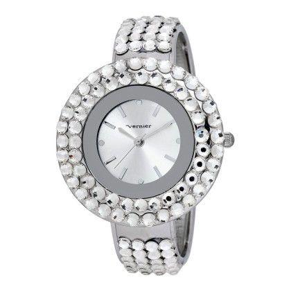 Vernier Women's Clear Glitz Crystal Silver Round Bangle Watch - Vernier Watches