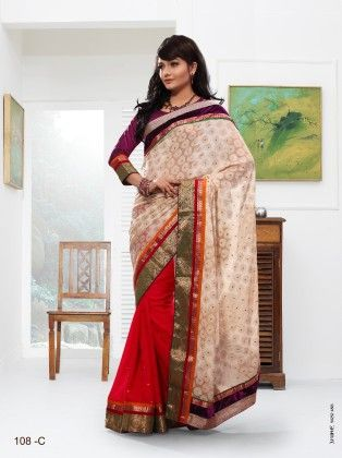 Touch Trends Off White Georgette  Jaquard Saree - Touch Trends Ethnic