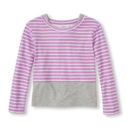 Long Sleeve Striped Faux-layered Top - Frostlilac - The Children's Place
