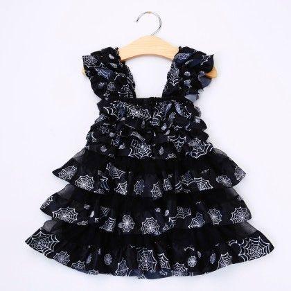 Black Ruffled Dress - Little Dress Up