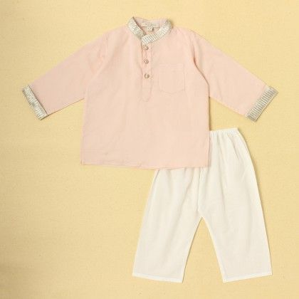 Boys Kurta Pyjama Set-pink - SU.MA By Verandah
