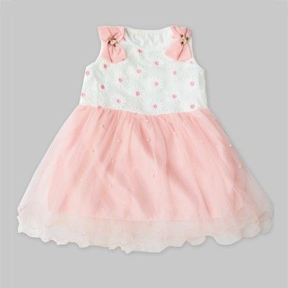 White_peach Floral Dress With Pearls - Freda & Pixie