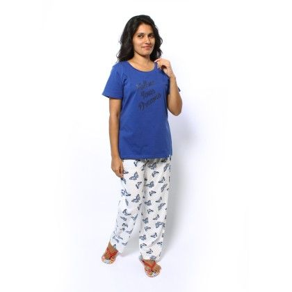 Butterfly Print Full Pyjama With Blue Top Set - Sheer Love