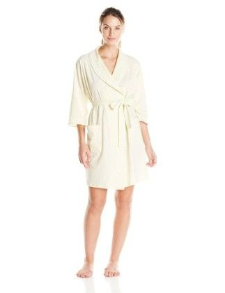 Women's Printed Soft Jersey Short 39 Inch Solid Wrap Robe - Yellow - Aria