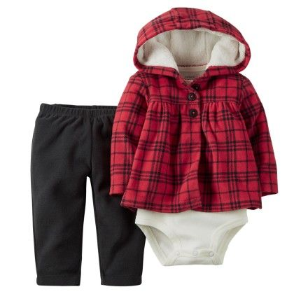 3-piece Cardigan Set - Red And Black - Carter's