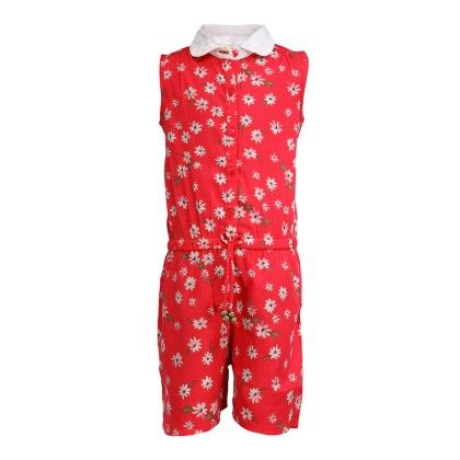 Budding Bees Girls Red Floral Jumpsuit