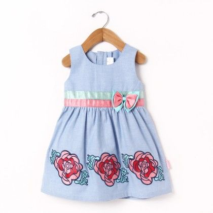 Sleveless Dress With Satin Belt And Applique Embroidery - Chocopie