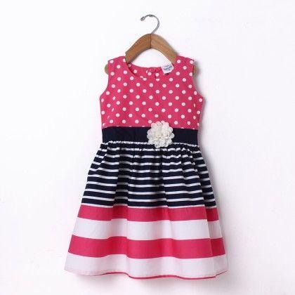 Dress Sleeve Less Polka & Stripe Cutnsew Pink & Navy - Doodle