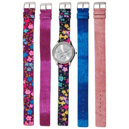 Vernier Women's Five Floral Interchangeable Pu Strap Quartz Timepiece - Vernier Watches