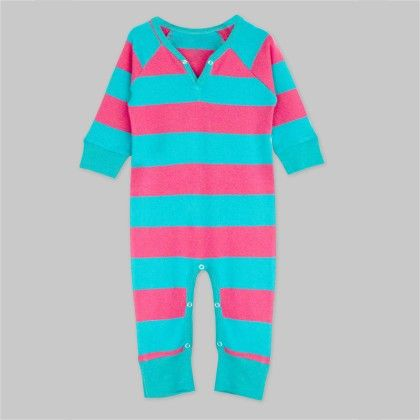 Hot Pink Turquoise Striped Long Sleeve Jumpsuit - A.T.U.N