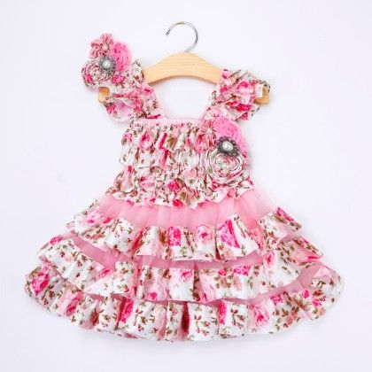 Cute Pink Floral Ruffled Dress With Headband - Little Dress Up