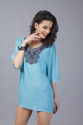 Loose Fit Embroidery Tops-teal - Xcel Couture