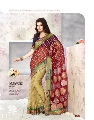 Touch Trends Maroon Banarasi Net Jaquard Saree - Touch Trends Ethnic