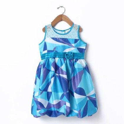 Balloon Dress Sleeve Less Wih Shoulder Lace - Blue - Doodle