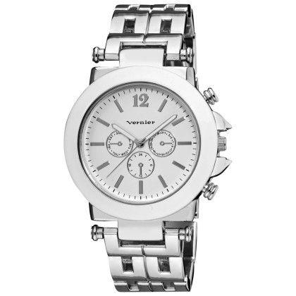 Vernier Women's Silver-tone Faux Crono Patterned Link Bracelet Enamel White Bezel Quartz Watch - Vernier Watches