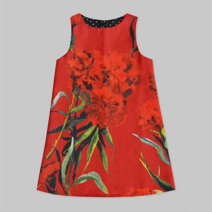 Red A-line Tunic Dress With Red Floral Print - Freda & Pixie