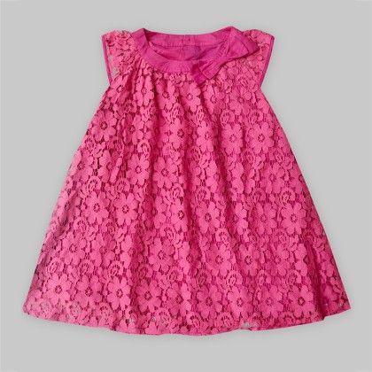 Fuschia Lace Dress With Bow - Freda & Pixie
