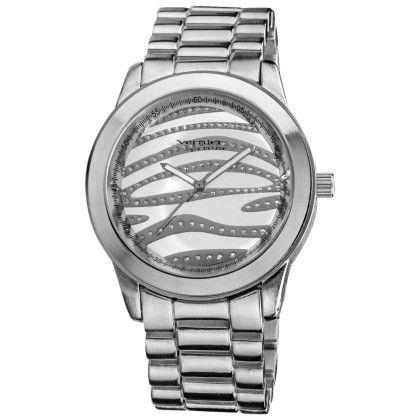 Women's Boyfriend Silver Zebra Glitter Dial Quartz Watch - Vernier Watches