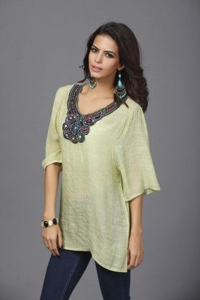 Loose Fit Embroidery Tops-lime Green - Xcel Couture