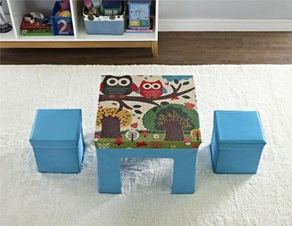 Folding Kids Table & Ottoman Set With Owl Pattern - Altra Furniture
