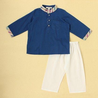 Boys Kurta Pyjama Set-blue - SU.MA By Verandah