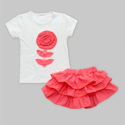 Flower Applique White Top With Coral Ruffle Skirt Set - Freda & Pixie