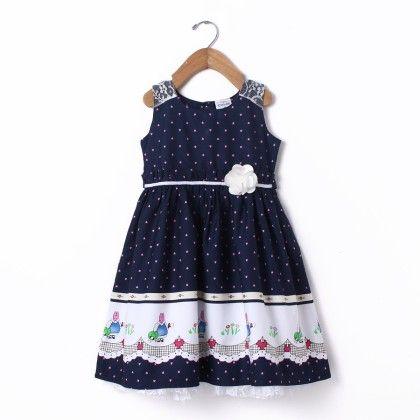 Dress Sleeve Less  Border Print Shoulder Lace - Navy - Doodle