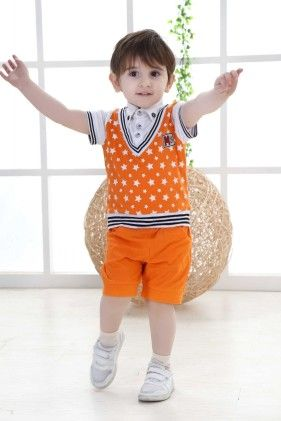 Boys Shirt And Shorts With Polka Dots Jacket- Orange - Dapper Dudes