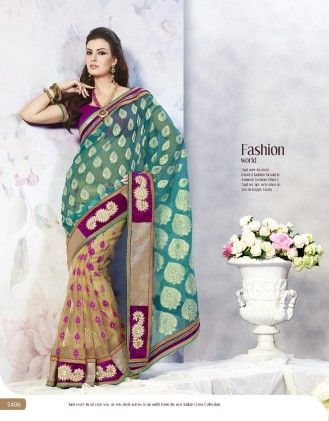 Touch Trends Turquoise Jardosi Net Jaquard  Saree - Touch Trends Ethnic