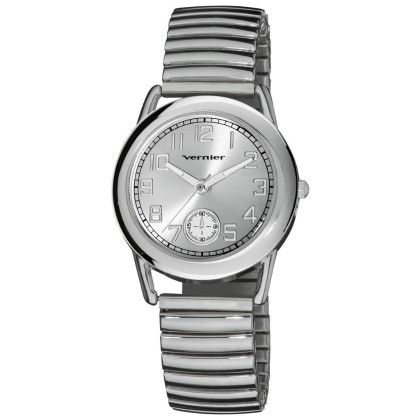 Women's Elegant Silver Tone Easy To Read Expandable Bracelet Watch - Vernier Watches