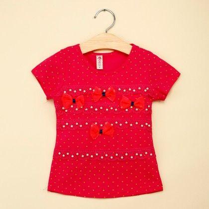 Rose Red Bow Applique T-shirt - Popsicle Kisses