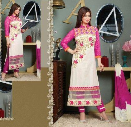 Pink & White Lace-semi Stitched Suit - Fashion Fiesta