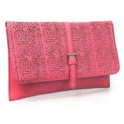 Decorative Cut Out Design Faux Leather Fashion Statement Envelope Clutch Lipstick Red - B.m.c