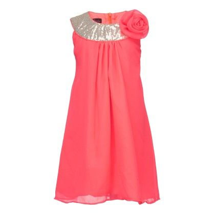 Orange Tunic With Shimmer Neckline And A Flower - Peaches