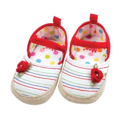 Mee Mee  Booties-white & Red