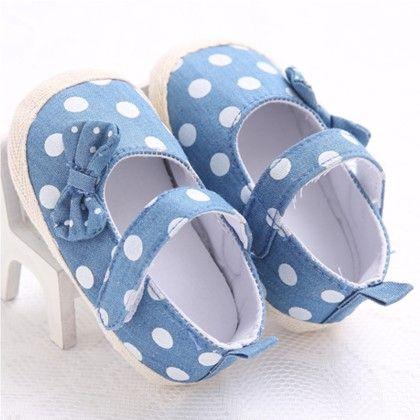 Pretty Polka Dot Bow Shoes - Peach Giirl