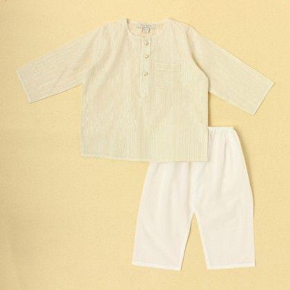 Boys Kurta Pyjama Set-beige - SU.MA By Verandah
